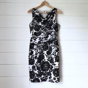 ANN TAYLOR Black and White Floral Dress